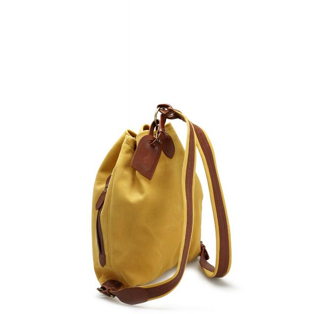 Leather backpack in peach yellow
