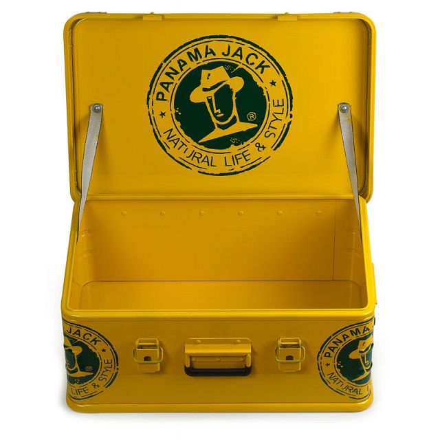 Yellow and green metal trunk