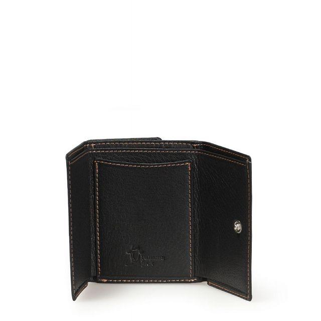 Mini leather wallet in black
