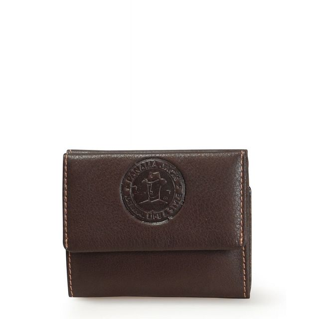 Mini leather wallet in brown