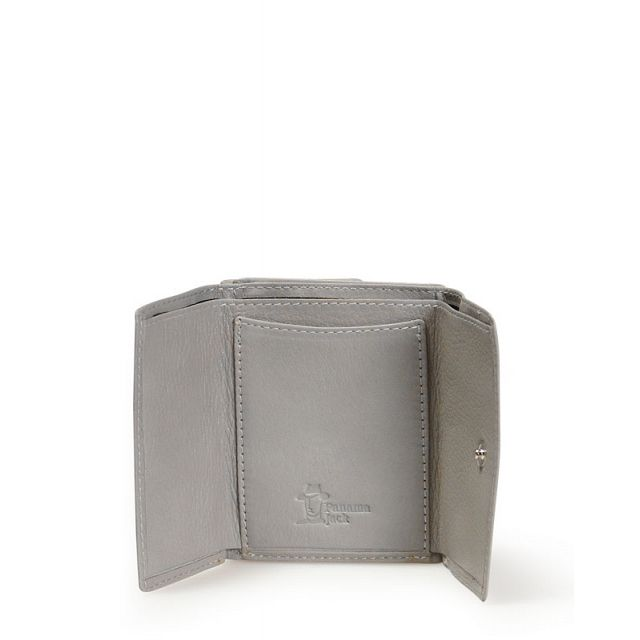 Mini leather wallet in grey