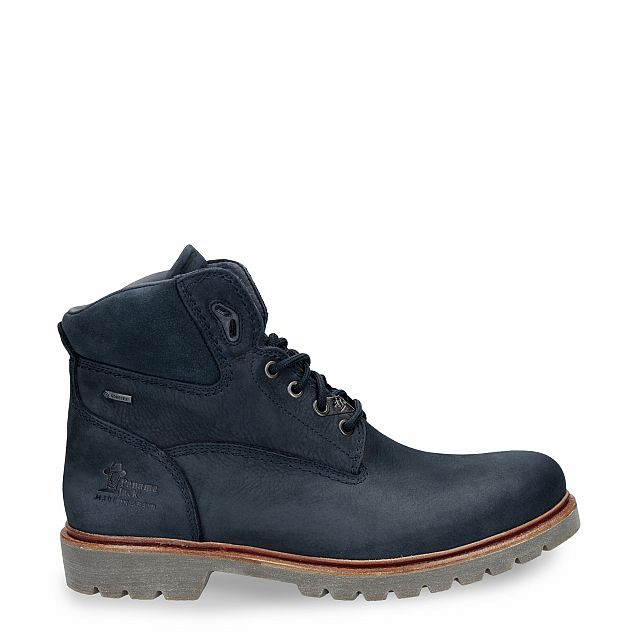 Leather ankle boot in navy with Gore-Tex inner lining