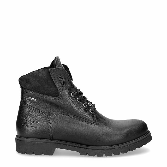 Black leather ankle boot with a gore-tex lining