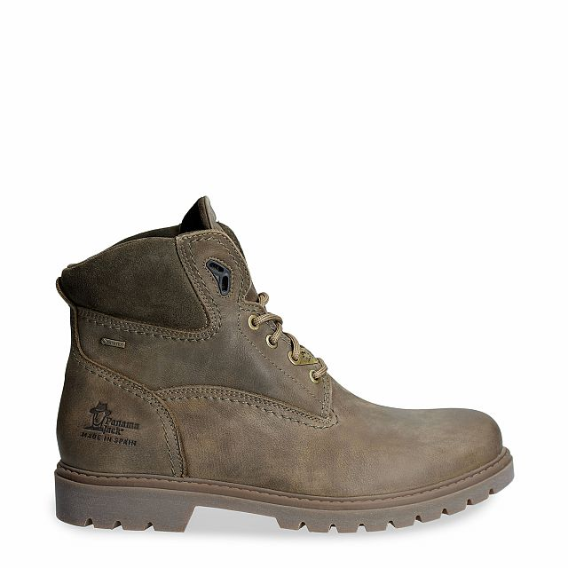 Leather ankle boot in khaki with a gore-tex lining