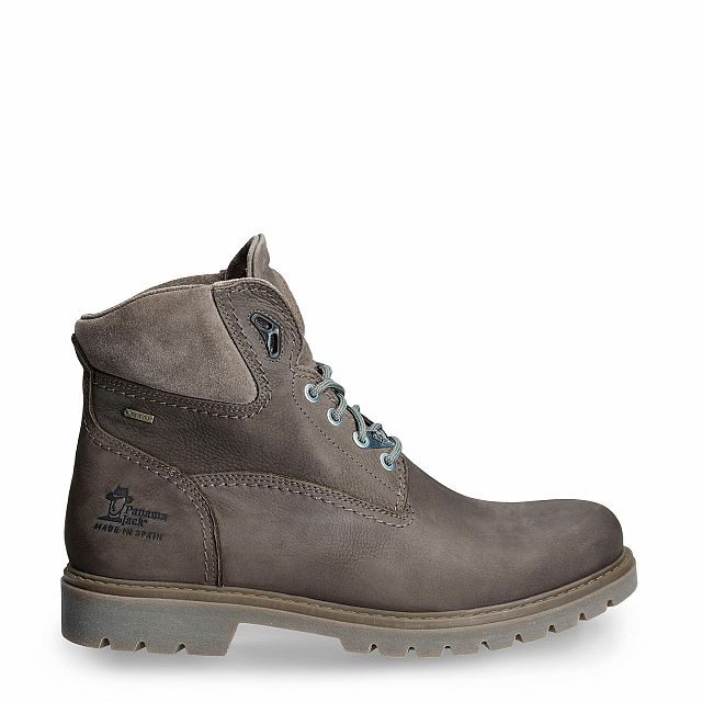 Grey leather ankle boot with a gore-tex lining