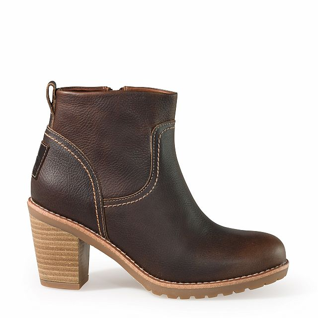 Heeled leather ankle boots in smoke colour with leather inner lining