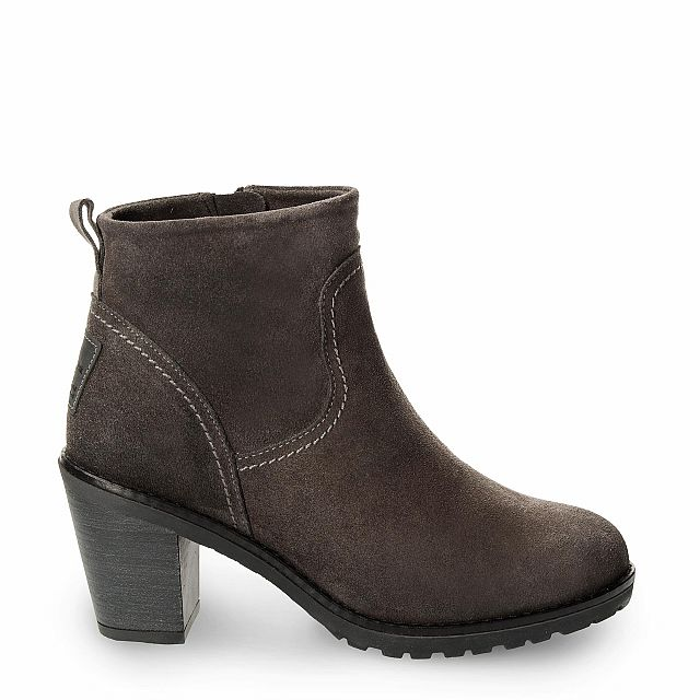 Leather ankle boot in grey with fur inner lining