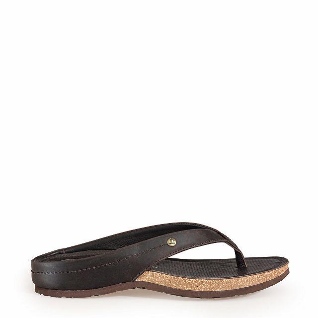 Leren sandaal, bruin met een leren voering