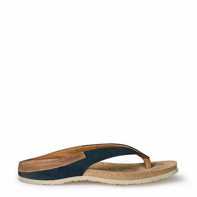 Men's leather sandal in blue