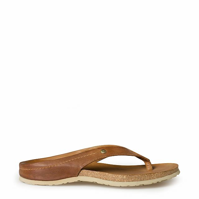 Men's leather sandal in bark