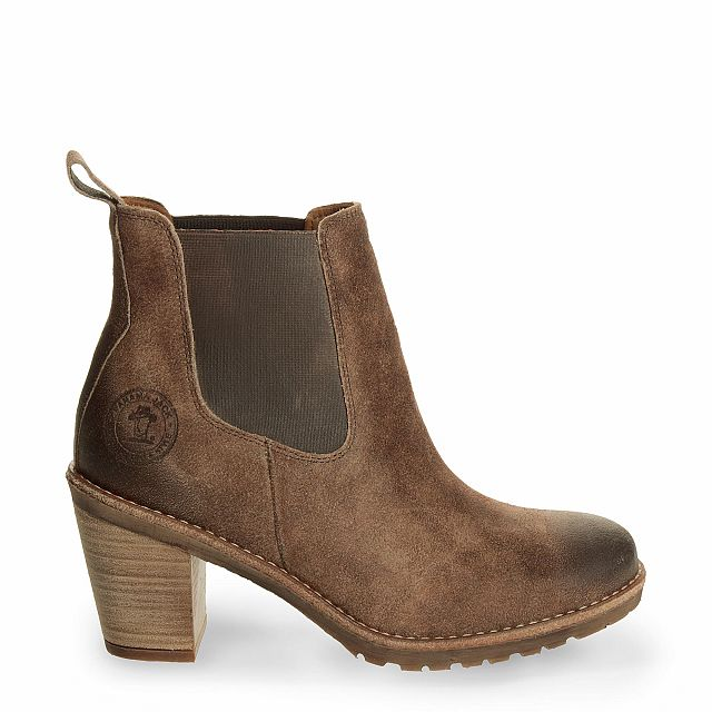 Leather ankle boot in taupe with leather inner lining