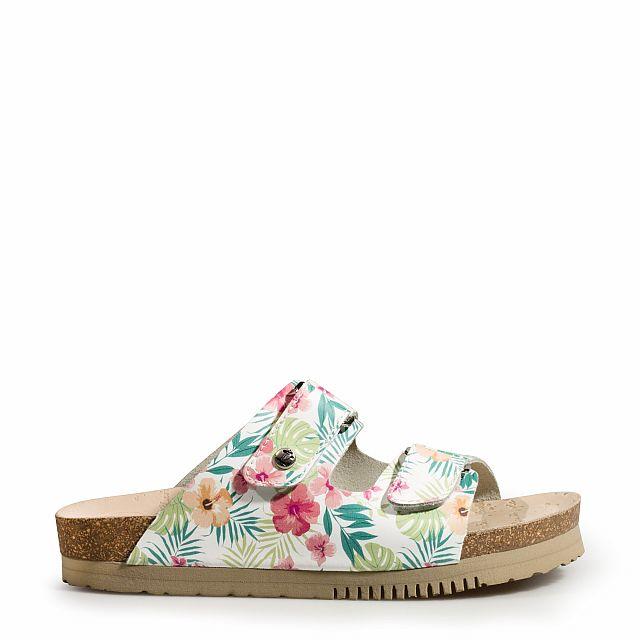 Sandalia de piel blanco tropical