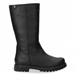 Leather women's high boots with warm lining