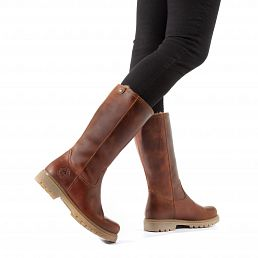 Leather women's boots with warm lining