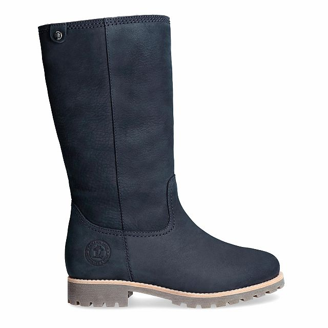 Navy leather boot with a lining of Sheepskin