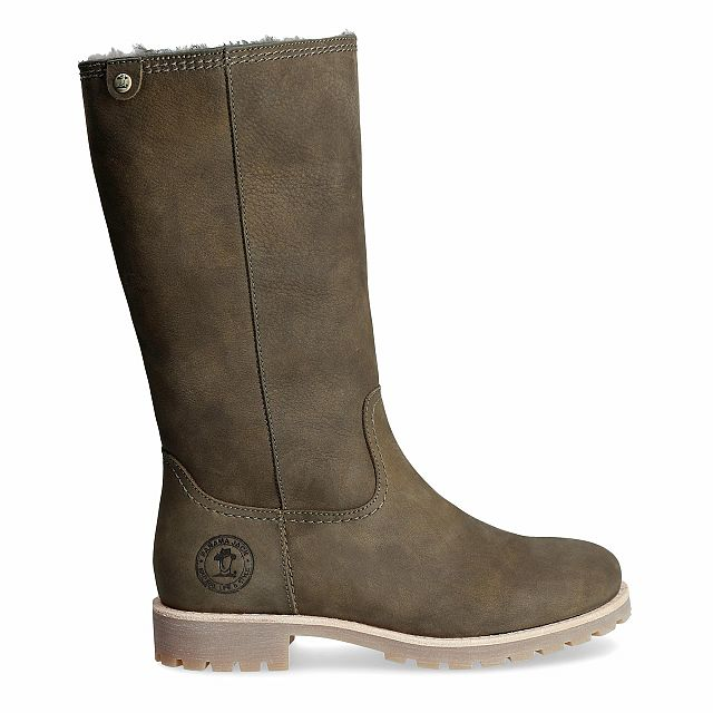 Leather boot in khaki with a lining of natural fur