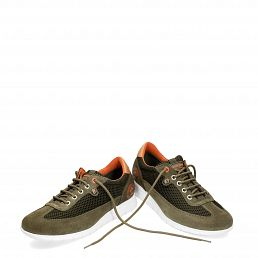 Leather trainer in khaki with Lycra inner lining