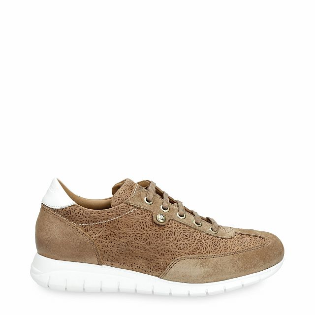 Leather trainer in mink with leather inner lining