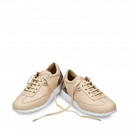 Leather trainer in natural with leather inner lining