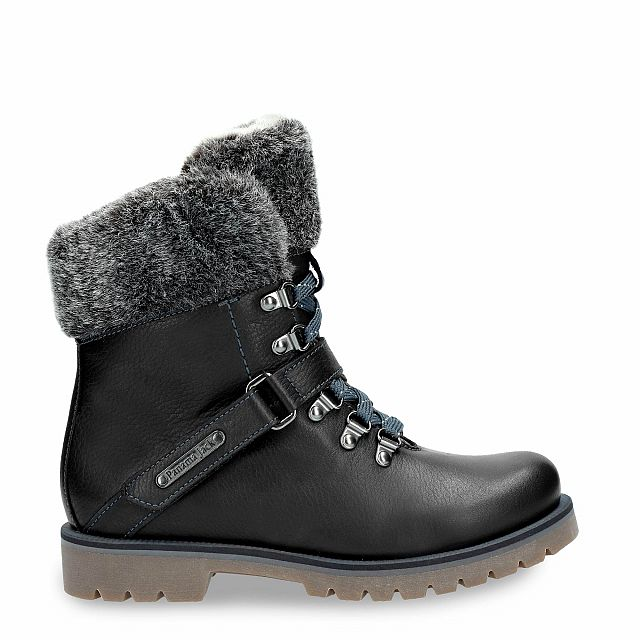 Black leather boot with a fur lining