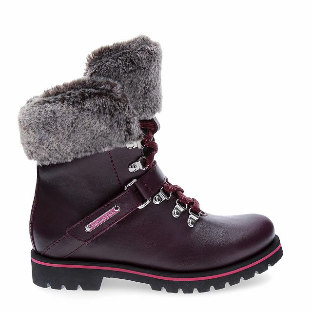Leather boot in Burgundy with fur inner lining