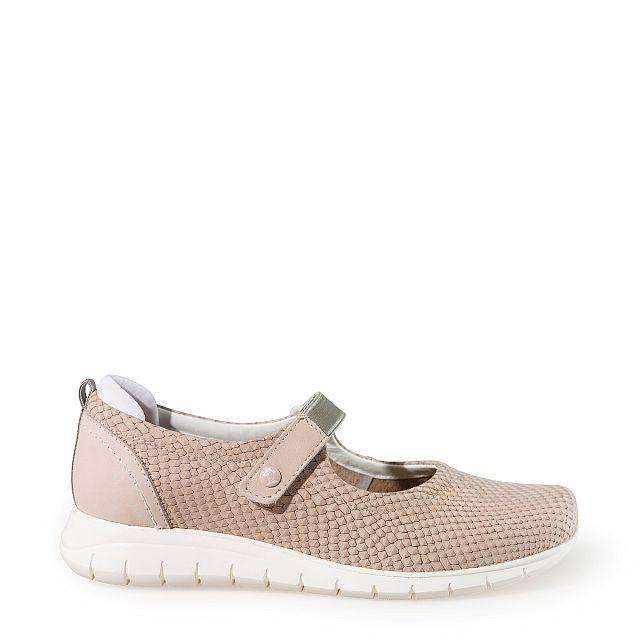 Zapato de piel salmon con forro de piel
