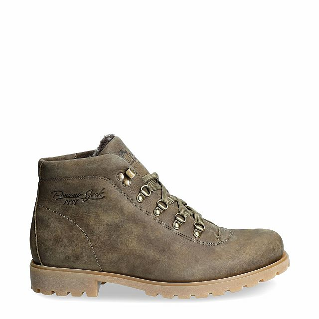 Leather ankle boot in khaki with a fur lining