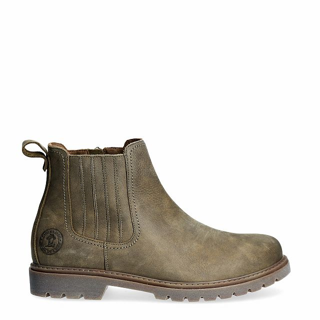 Leather ankle boot in khaki with a leather lining