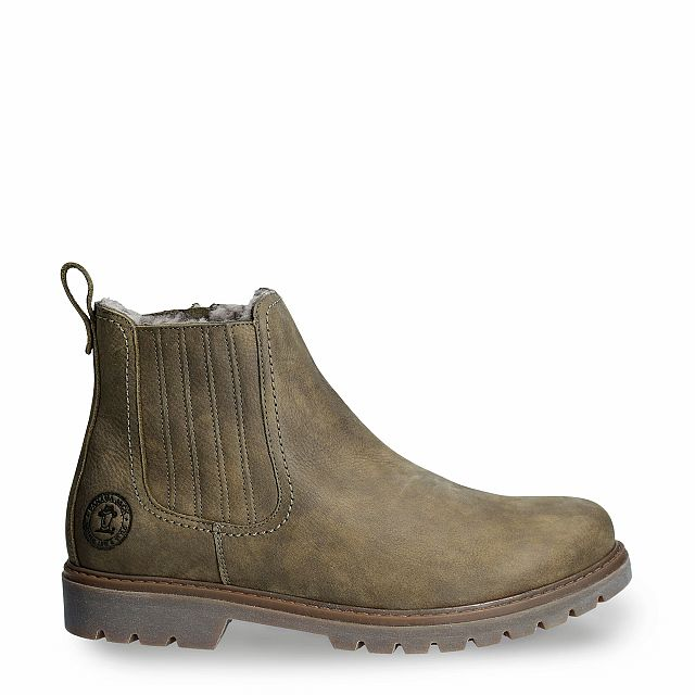 Leather ankle boot in khaki with a lining of Sheepskin