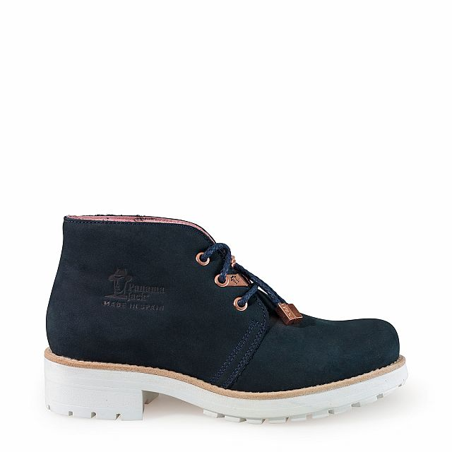 Leather ankle boot in navy with leather inner lining