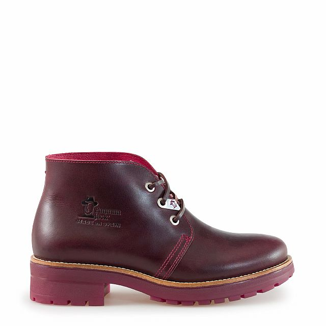 Leather ankle boots in burgundy with leather inner lining