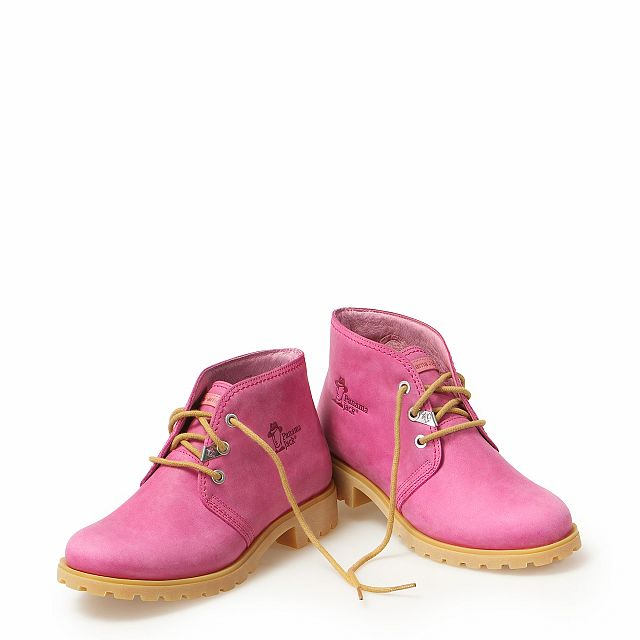 Leather ankle boots in fuchsia colour with leather inner lining