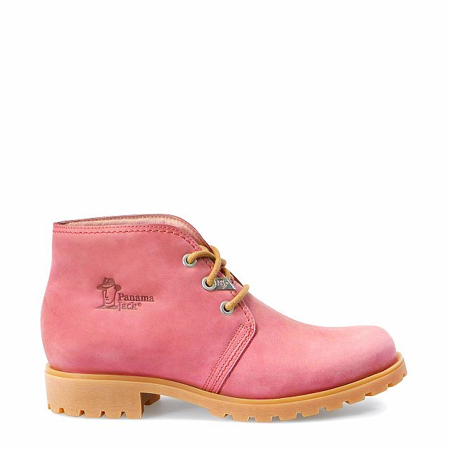 Leather ankle boots in strawberry colour with leather inner lining