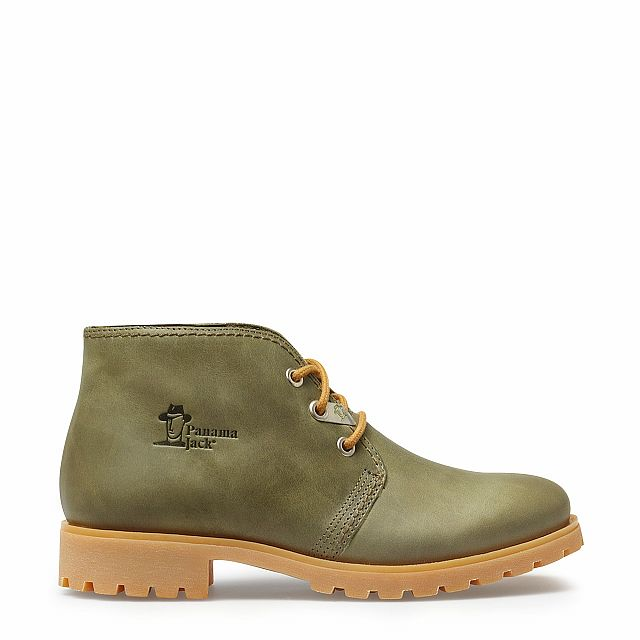 Leather ankle boots in Khaki colour