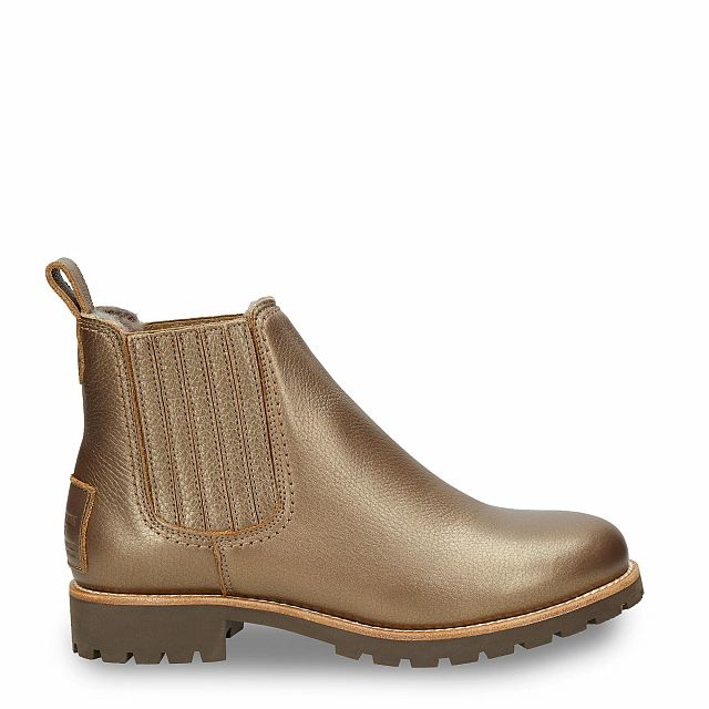 Leather ankle boot in bronze with a lining of Sheepskin
