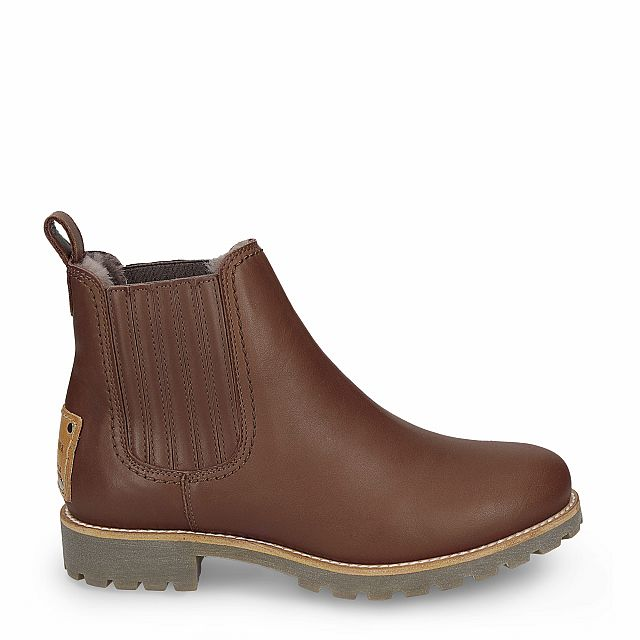 Leather ankle boot in tan with sheepskin inner lining