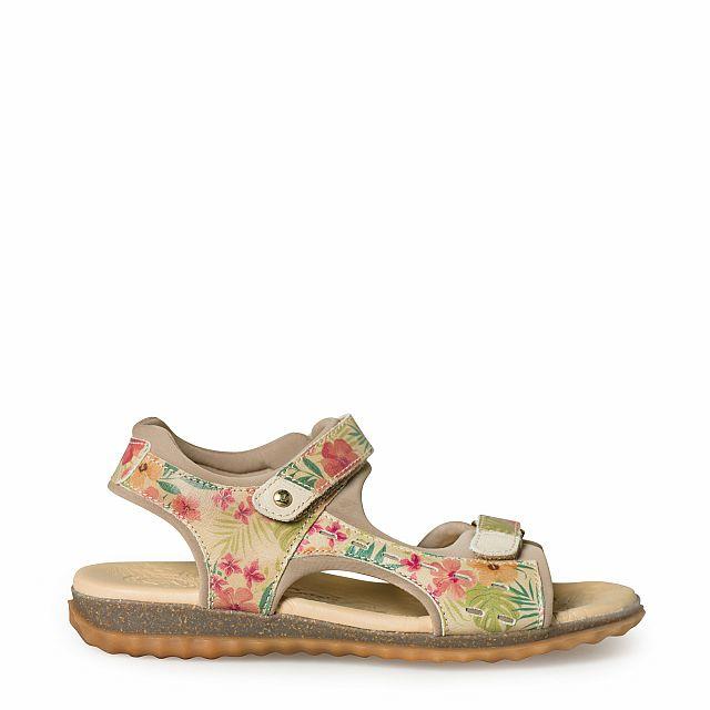 Sandalia de piel natural tropical