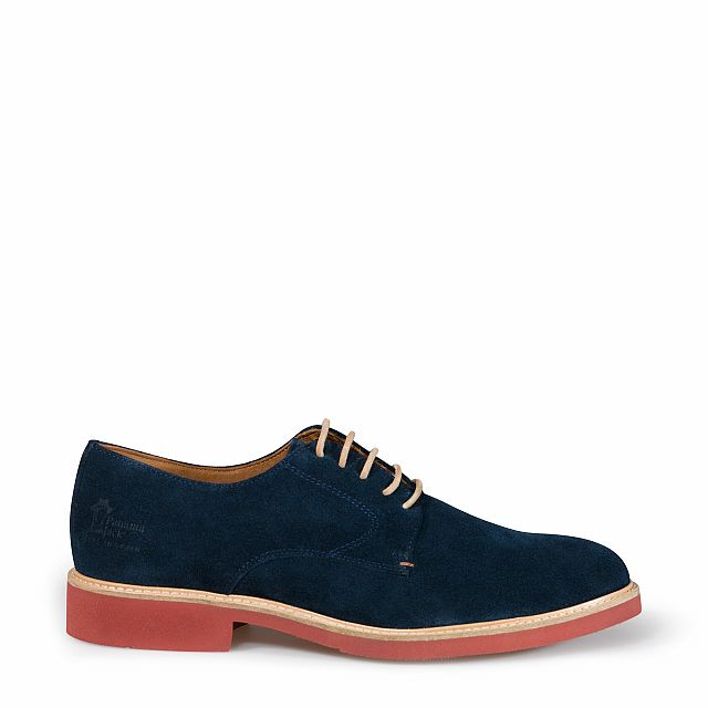 Men's leather shoe in blue