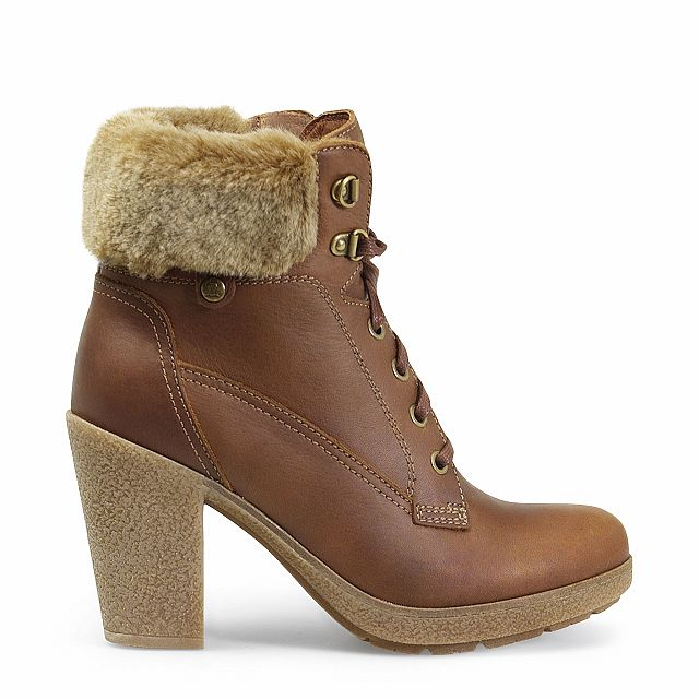 Heeled leather ankle boots in bark with leather inner lining