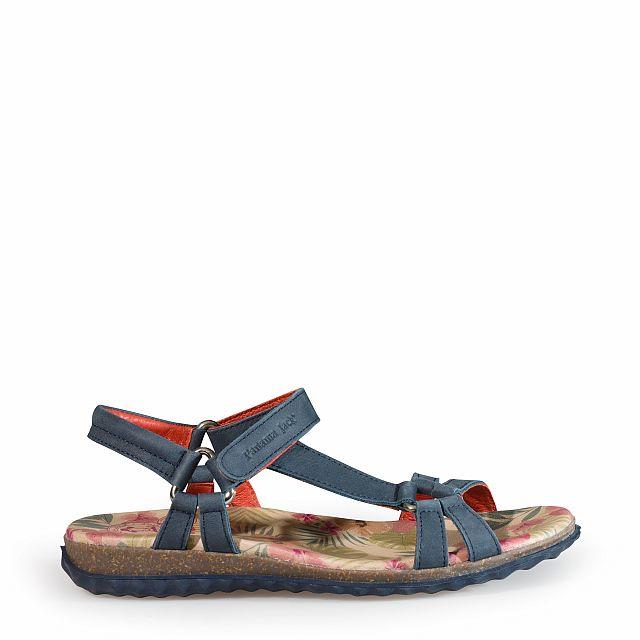Sandalia de piel azul