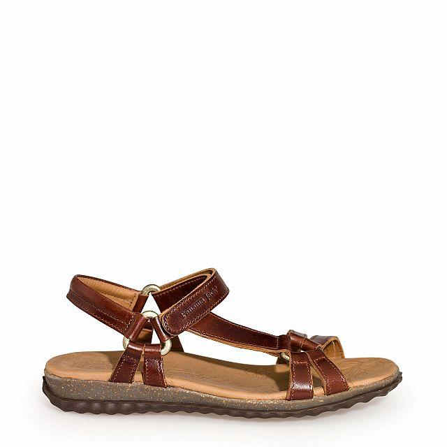 Leren sandaal in naturelleer en met een leren voering