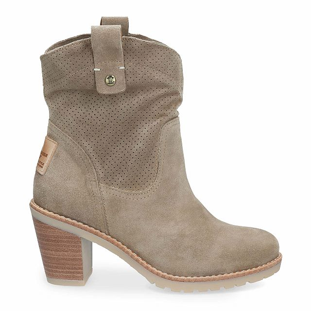 Leather boot in taupe with leather inner lining