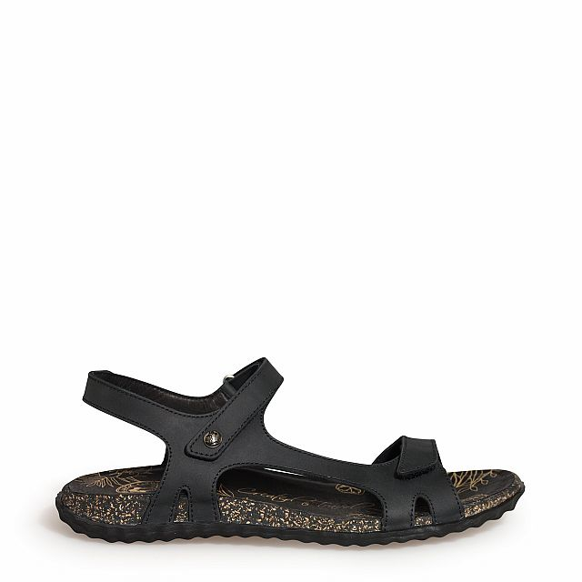 black leather sandal with leather lining