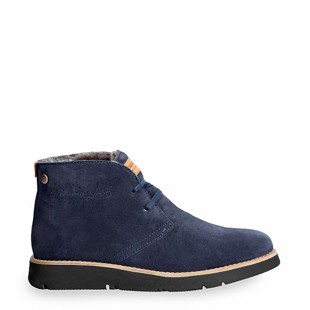 Leather ankle boot in navy with a lining of natural fur