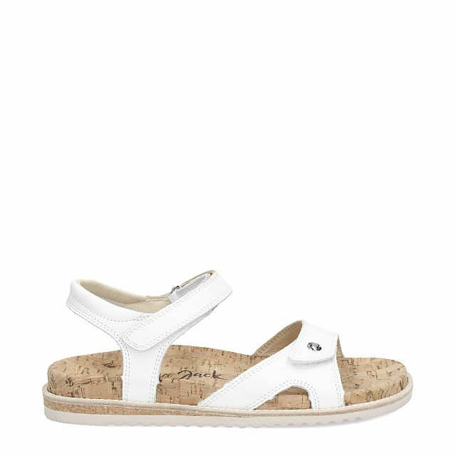 Leather sandal in white with leather inner lining