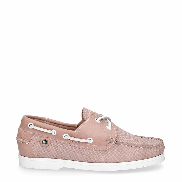 Pink leather dock shoes