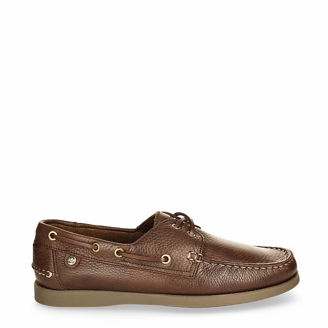 Brown leather dock shoes