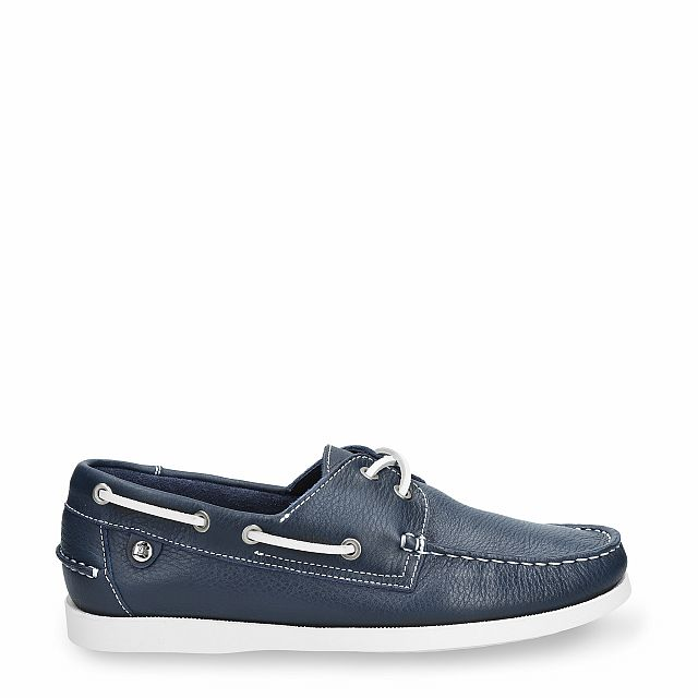 Navy leather dock shoes
