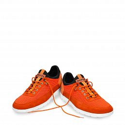 Leather shoe in orange with Lycra inner lining