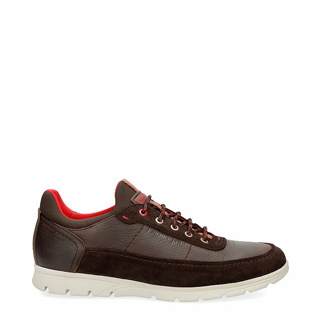 Leather shoe in brown with Lycra inner lining